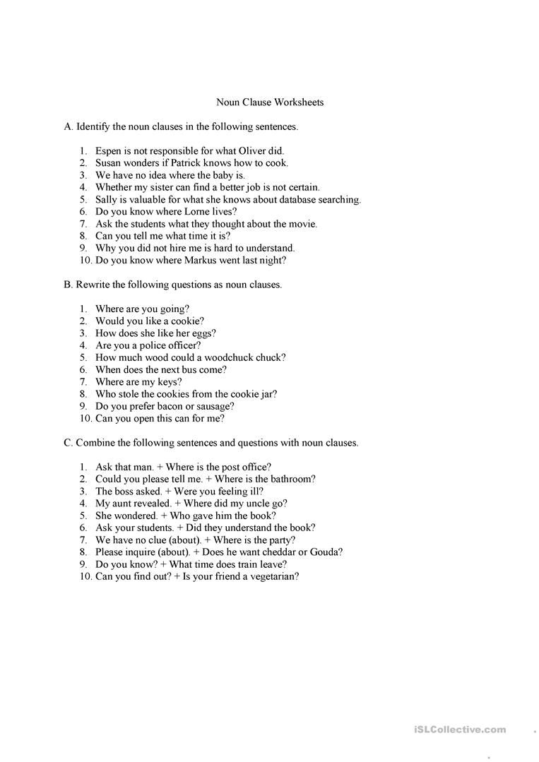 Noun Clauses Questions And Answers This Or That Questions Relative Clauses Nouns