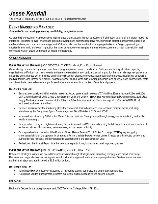 resume objective for event manager