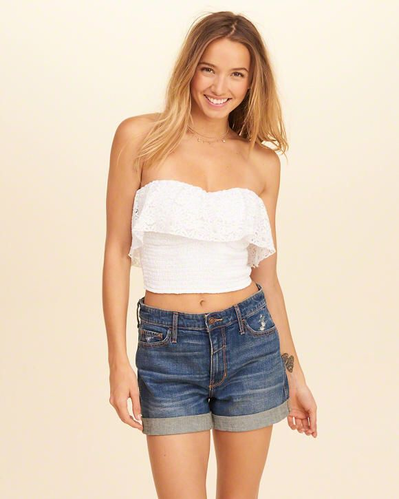 a1bba61abe0 Hollister Smocked Ruffle Crop Tube Top