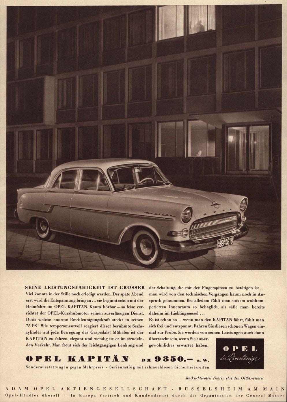 1956 Ad Opel Kapitän Advertenties
