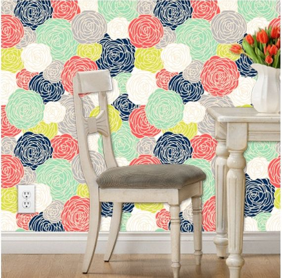 Removable Wallpaper Blossom Print Multi by GailWrightatHome