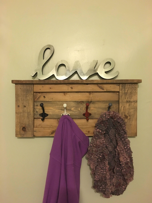 Rustic Coat Rack, Coat Hooks, Farmhouse Decor, Coat Hanger ...