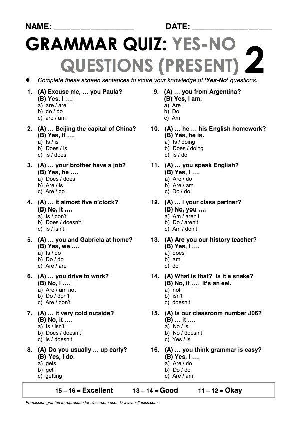 yes no questions present 2 grammar quiz handout pinterest grammar quiz english and. Black Bedroom Furniture Sets. Home Design Ideas