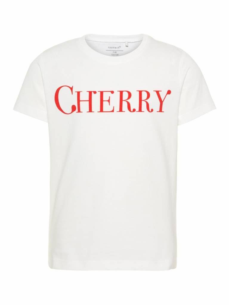 8f2d6867d6f3a7 Een witte meisjes tshirt voorzien van een korte mouw en een ronde hals, de  shirt heeft een rode grote tekst : Cherry 100% bio katoen