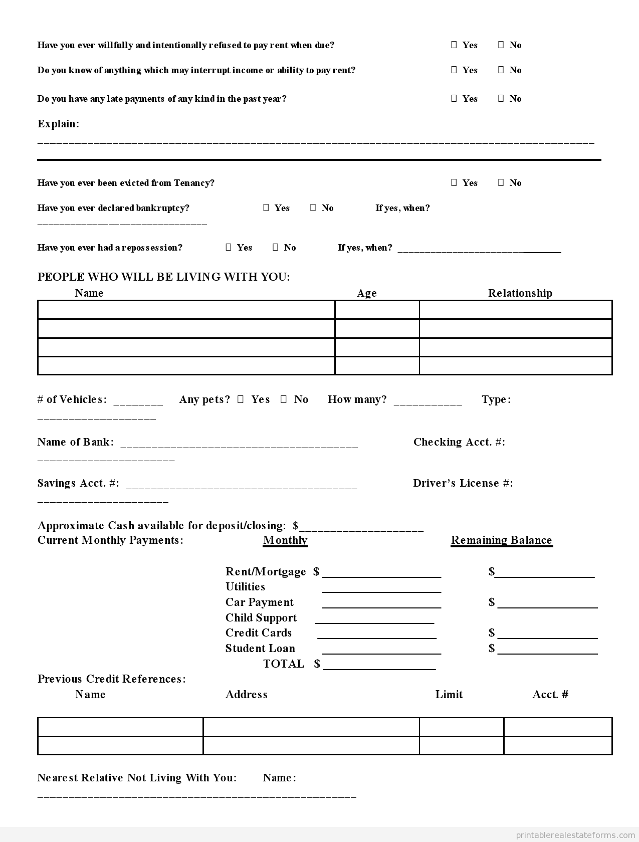 Sample Printable Preliminary Credit Application Form  Sample Real