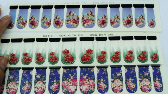 Free Shipping-flower nail wrap,3 sets of vintage blue water transfer nail decal,12 pcs each set,Purple Nail Wrap,Roses Nail wrap,Floral Nail