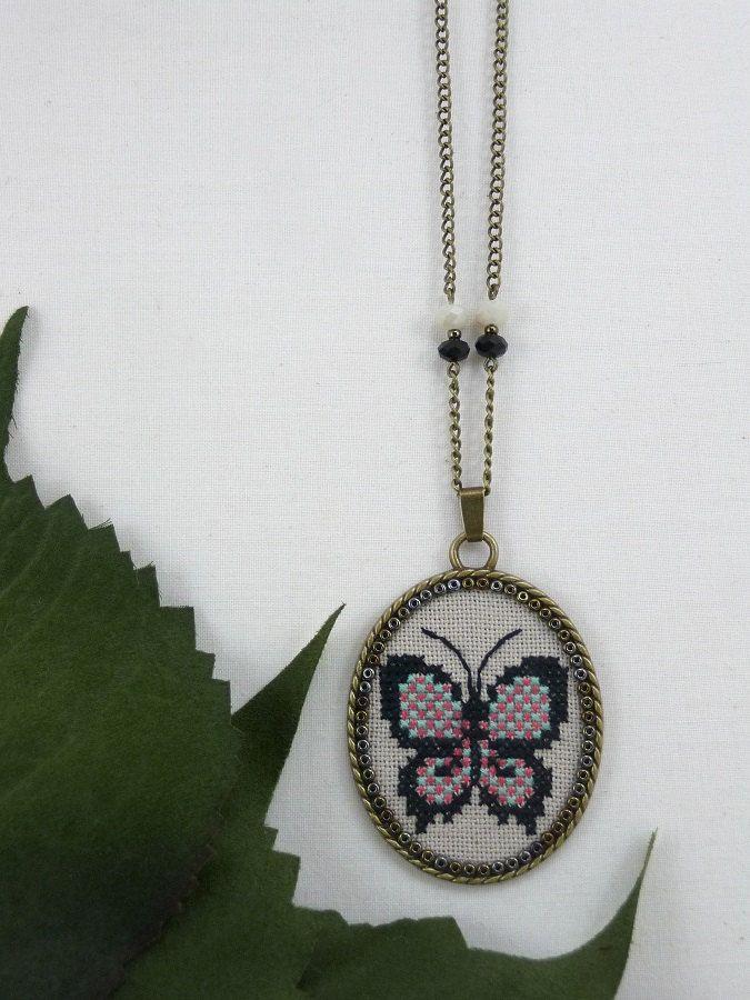 Butterfly Cross Stitch Necklace, Butterfly Jewelry, Butterfly Pendant, Cross Stitch Jewelry Gift for Her, Textile Jewelry Butterfly Necklace by TriccotraShop on Etsy