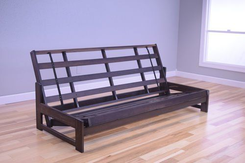 The futon is a classic hardwood frame with a space saving design. This unique futon sofa easily converts to a Bed.