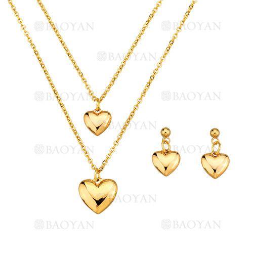 4b685d2f6552 juego collar y pendientes de corazon dorado en acero inoxidable para mujer  -SSNEG183963