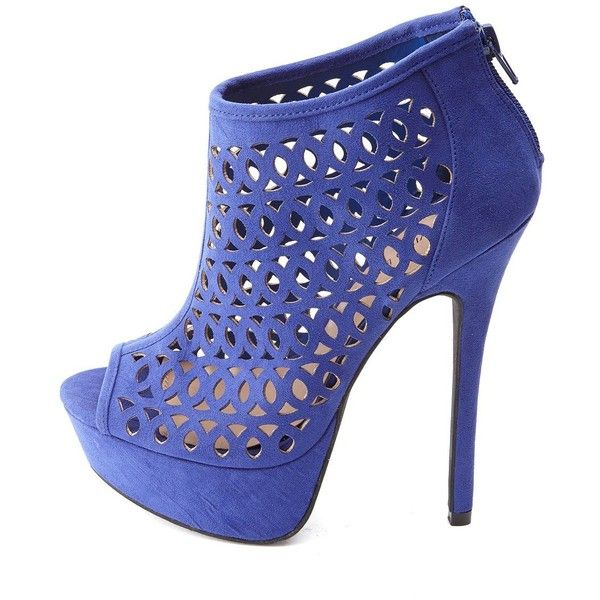 Charlotte Russe Laser Cut-Out Peep Toe Platform Heels ($19) ❤ liked on Polyvore featuring shoes, boots, ankle booties, heels, cobalt, cut-out ankle boots, ankle high boots, ankle boots, high heel ankle booties and short heel boots