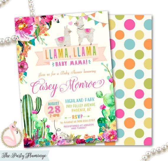 Llama Baby Shower Invitation Girl Llama Llama Baby Mama Invite