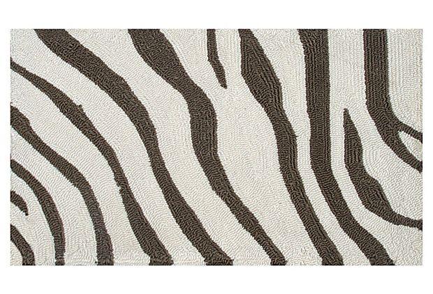 """14""""x23"""" Zebra Outdoor Rug, Brown/Cream on OneKingsLane.com"""