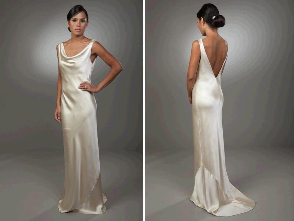 Sleek Column Silk Wedding Dress With Open V Back Wedding Dresses Satin Wedding Dress Necklines Cowl Neck Wedding Dress
