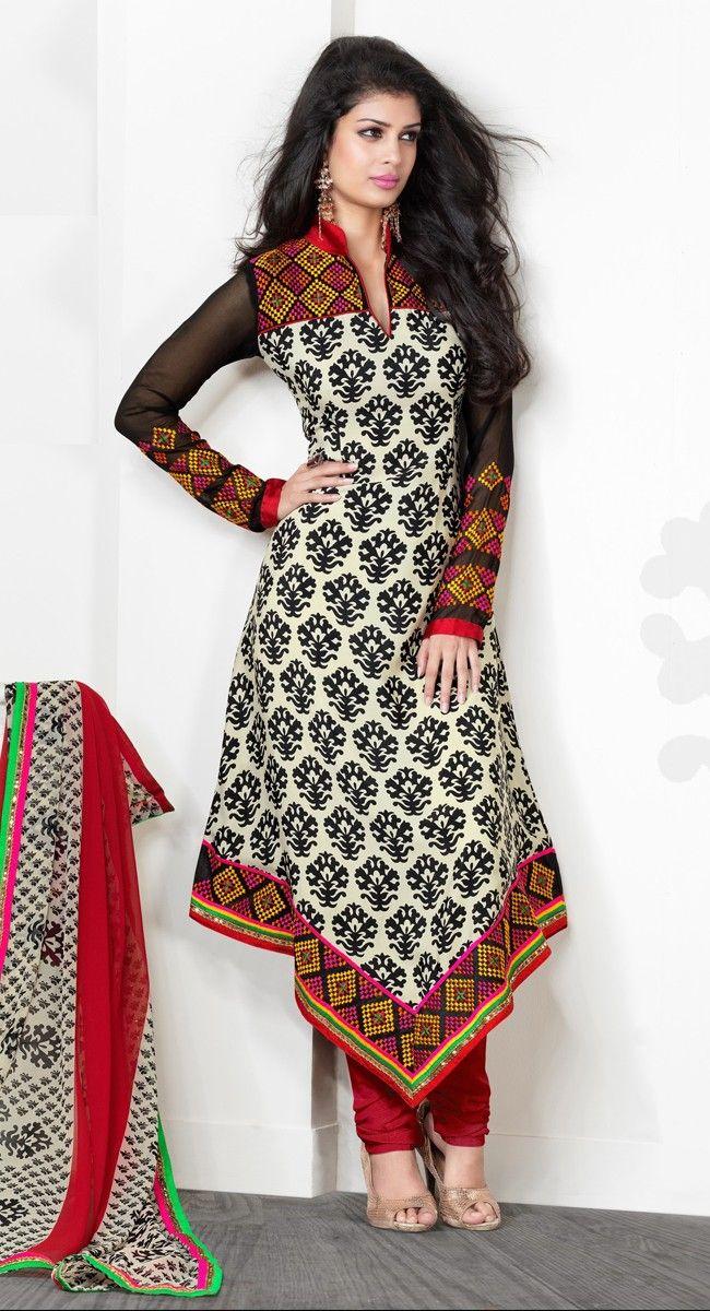 Grand Black And Buttercream Crepe Silk Salwar #Kameez ...