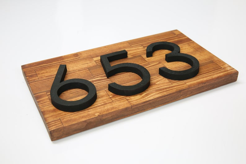 House Number Plaque Horizontal Wood Address Numbers Address Etsy