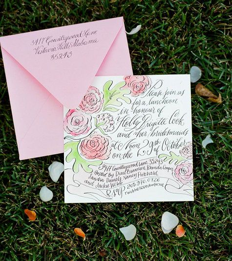 HandIllustrated Calligraphy Bridal Luncheon Invitations BB Shop