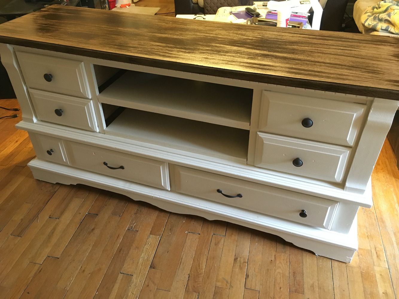 Dresser Turned Into An Entertainment Center Behr Color Oyster On Bottom Jacobean Minwax Stain