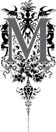Estilo fantasía, alfabeto Inglés, letra M, Escala de grises Foto de archivo - 23262830