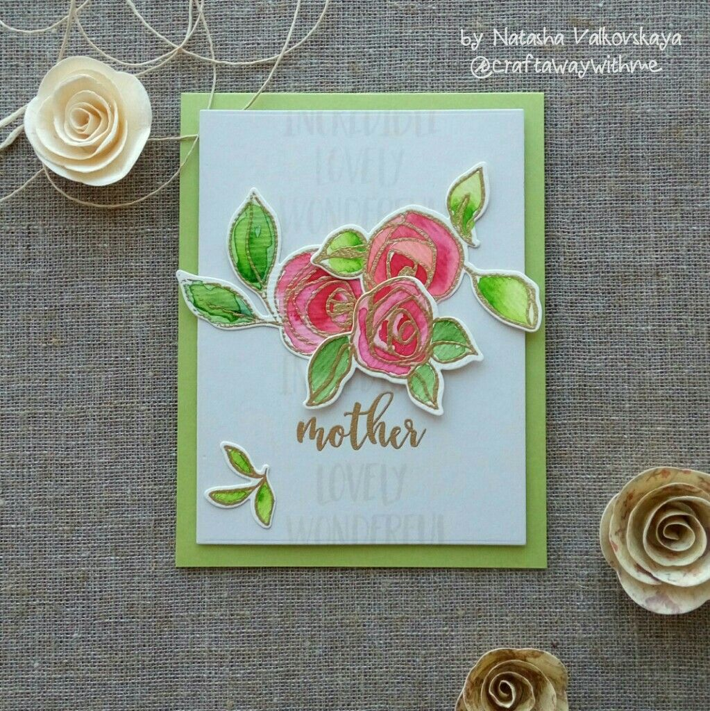 mother's day card with altenew bamboo rose and sentiment