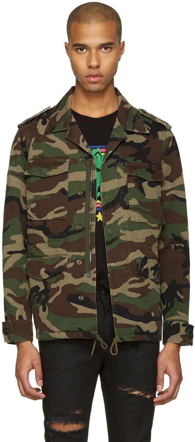 Saint Laurent Green Camo Love Military Jacket Jackets Saint Laurent Military Jacket [ 1412 x 624 Pixel ]
