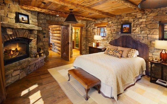 Schlafzimmer Landhausstil Teppich Kamin Steine Holz
