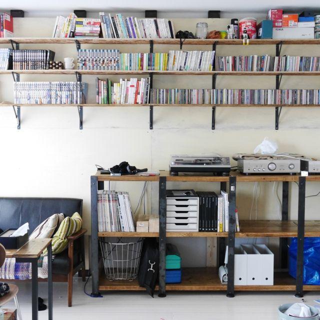 壁 天井 Cd棚 ハンドメイド Diy 一人暮らし などのインテリア実例