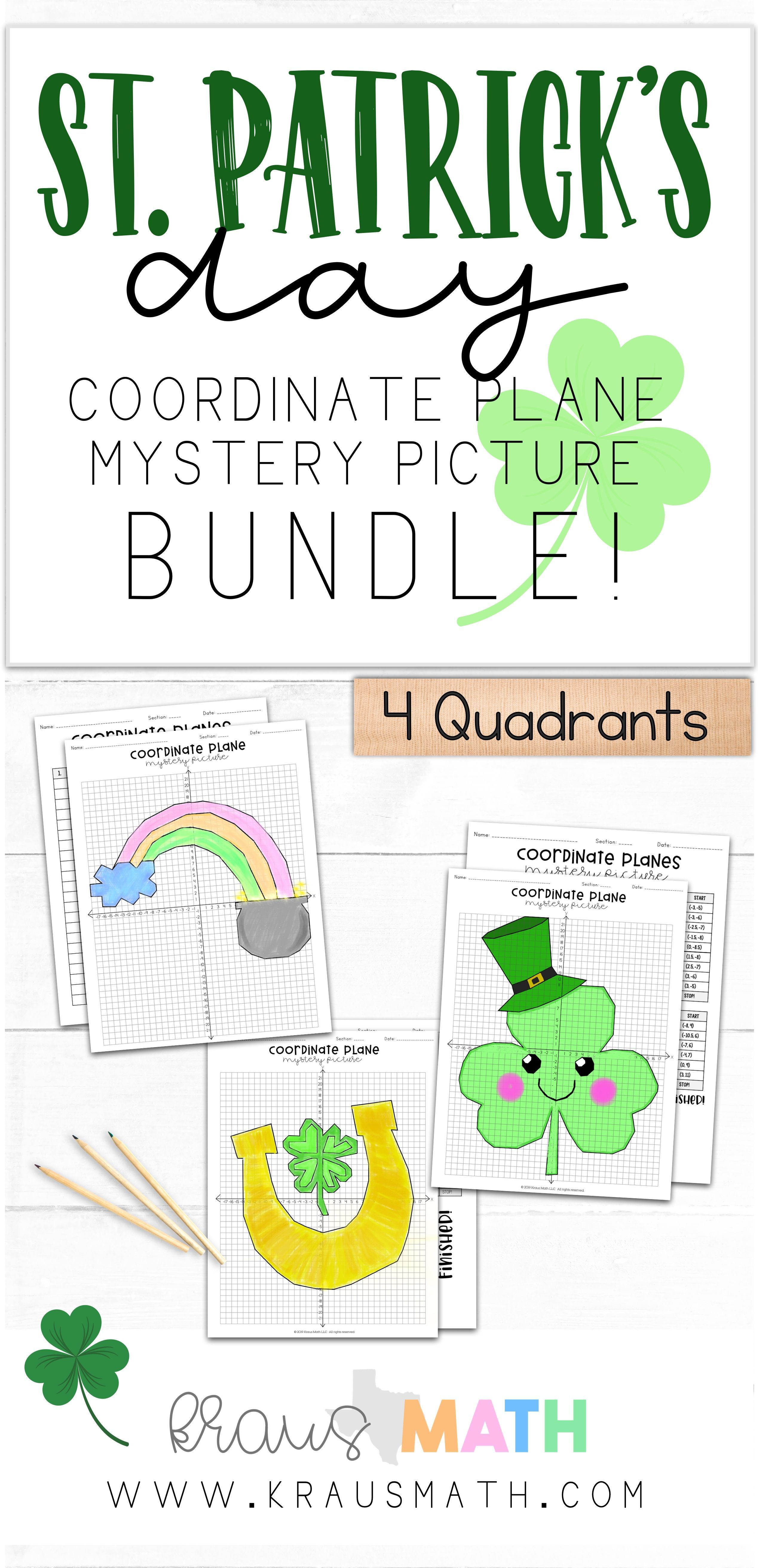 St Patrick S Day Coordinate Plane Mystery Picture Bundle