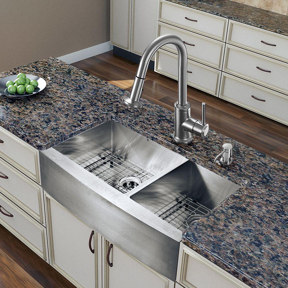 Stainless Steel Kitchen Cabinets Chicago: VIGO Bingham Stainless Steel Kitchen Sink Set With Astor