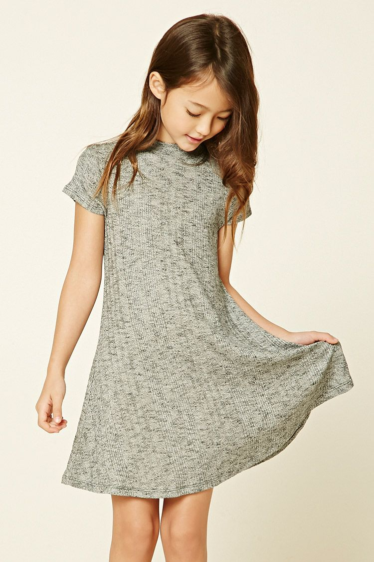 cb1d446e7e96 Forever 21 Girls - A ribbed knit swing dress featuring a marled design
