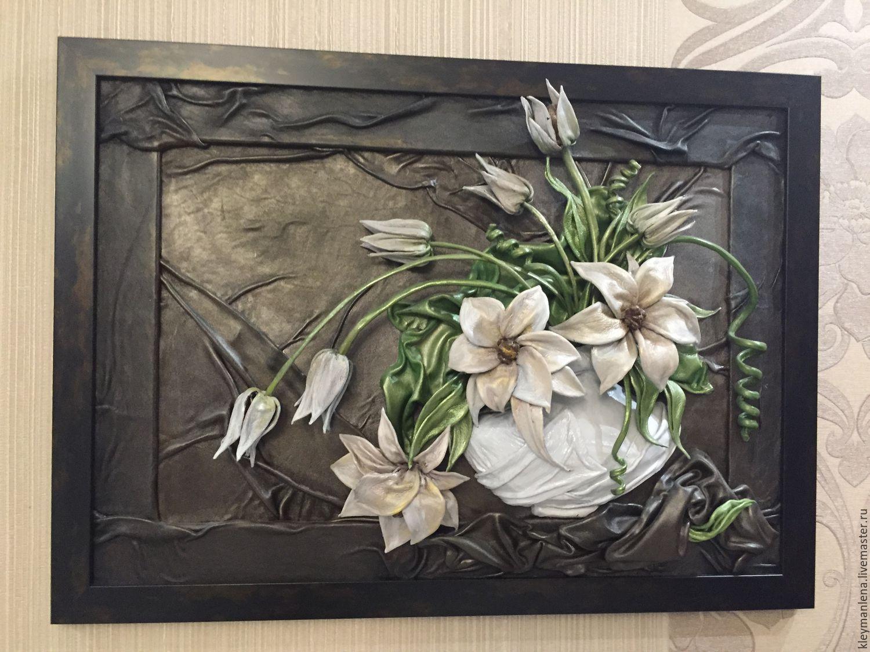 Купить Цветы - цветы в интерьере, картины из кожи, панно из кожи, Подарки для дома, цветы из кожи