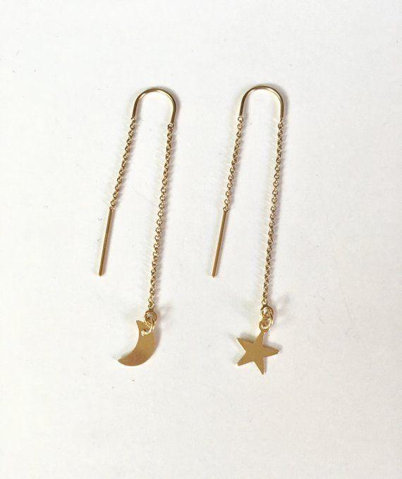 4d9282fb640a9 Celestial Threader Earrings, Threader Earrings, Moon and Stars ...