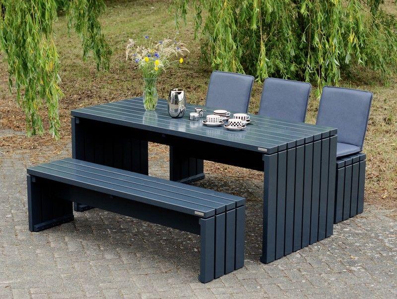 Gartenmöbel Set \/ Gartentisch 1 Holz, Farbe Anthrazit Grau