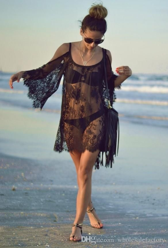b6ceebcdc5df vestidos de playa hueco de encaje negro blanco desnudo de espaldas a ...