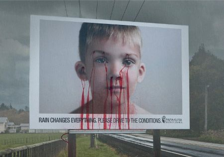 Billboard: Rain changes everything. Please drive to the conditions. #roadsafety