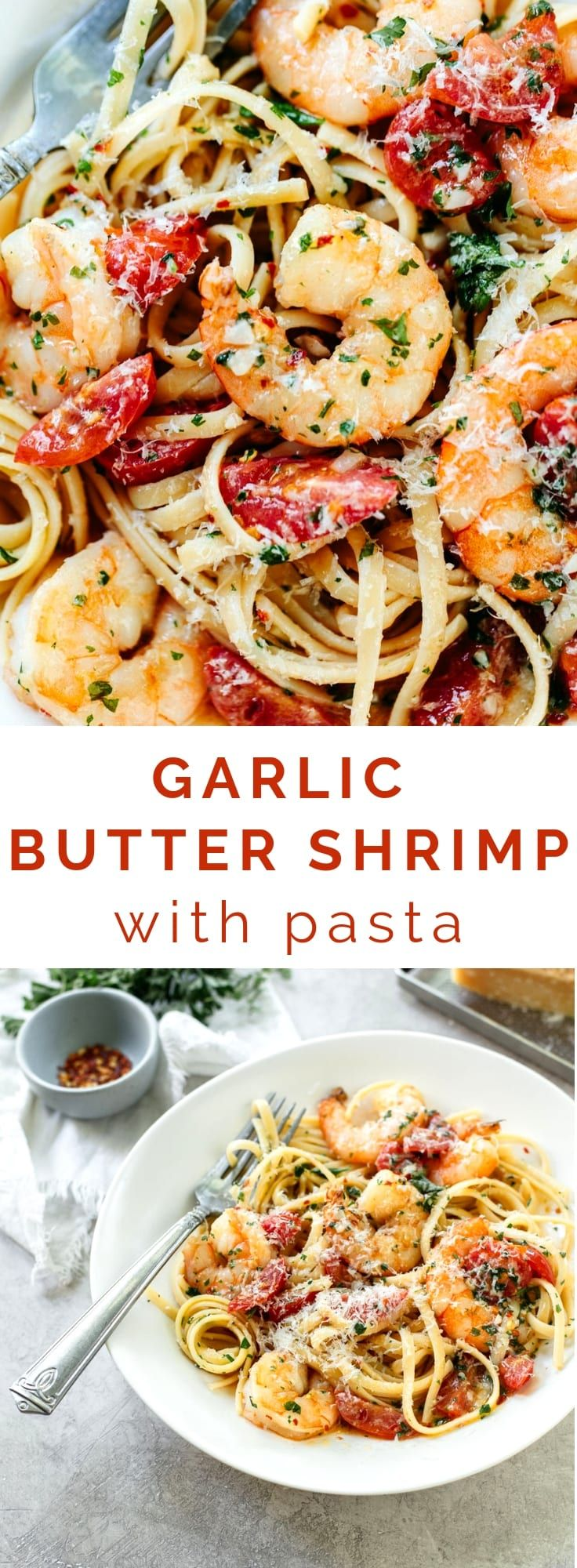 Garlic Butter Shrimp Pasta #shrimppasta