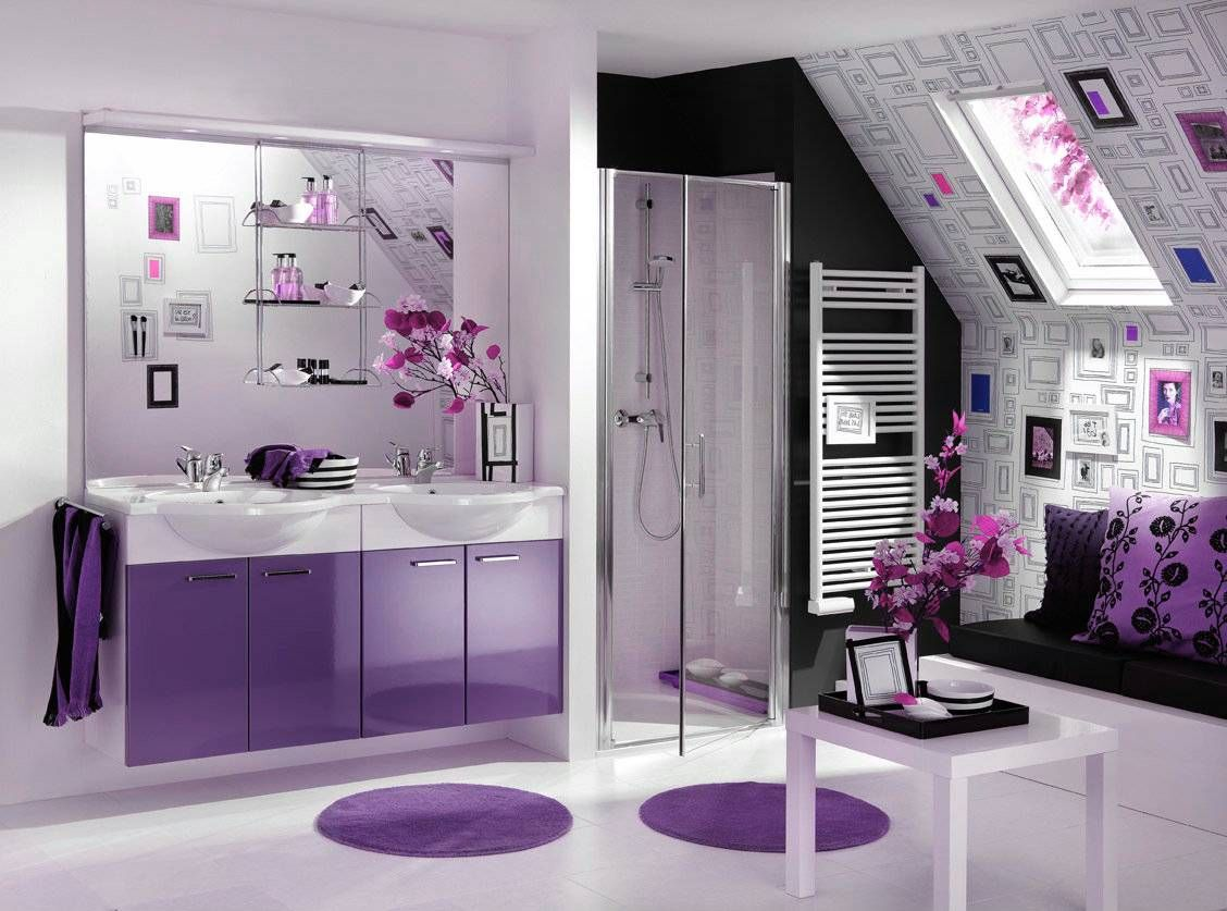 Home Interior:Beautiful Purple Bathroom Design Ideas With Purple Modern  Acrylic Bathroom Vanitu With White Sink Also Cute Purple Bathroom Furniture  Purple ...