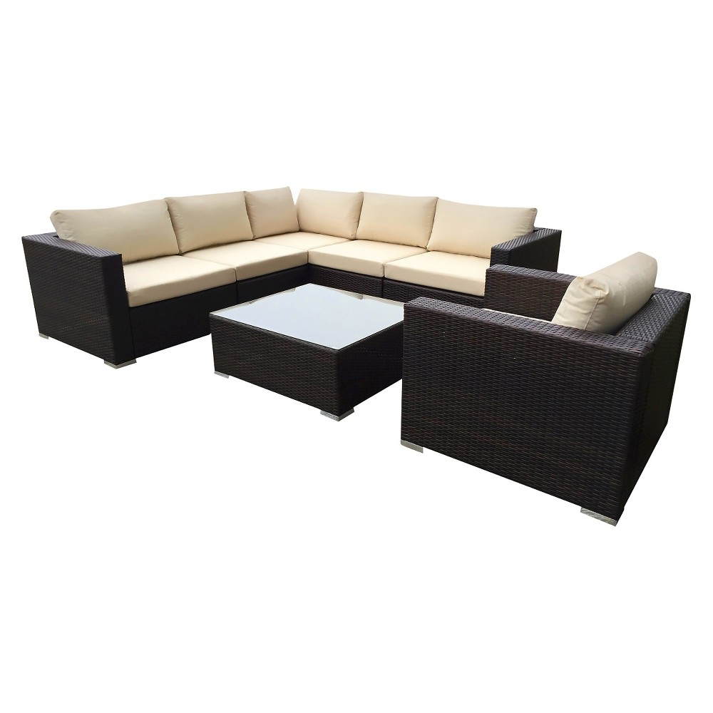 Christopher Knight Home Santa Rosa 7-Piece Wicker Patio Seating Sectional Set - Multi Brown With Beige Cushions