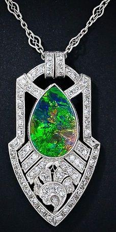 Style Art Deco black opal fashion love