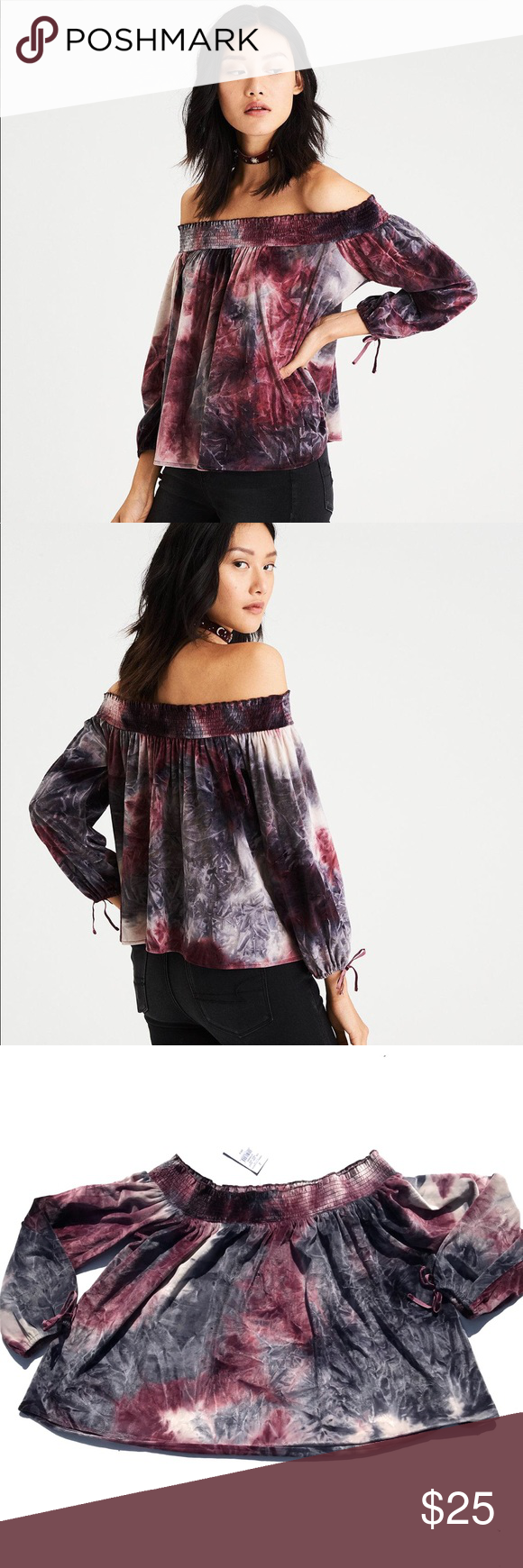 ed79bda484bd6f NWT American Eagle Off Shoulder Tie Dye Velvet Top This off the shoulder  blouse is brand