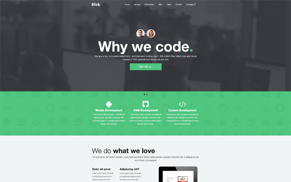 Slick One Page Responsive Bootstrap Theme Download New Themes Top Web Designs Web Design Theme