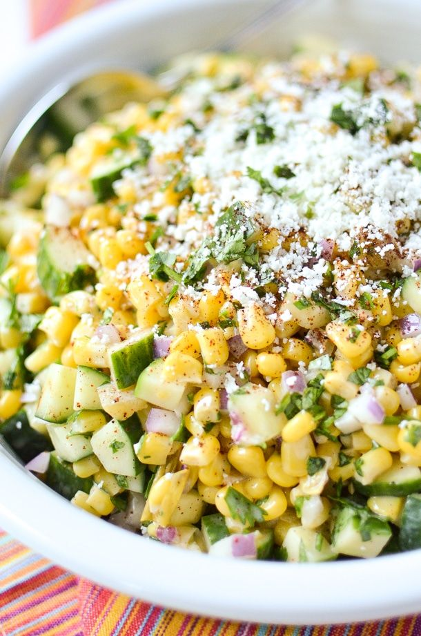 Mexican Street Corn & Cucumber Salad #mexicanstreetcorn