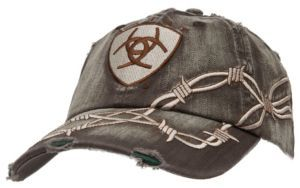 623afe2e784 Ariat Distressed Brown with Barbwire Embroidery Logo Cap ...