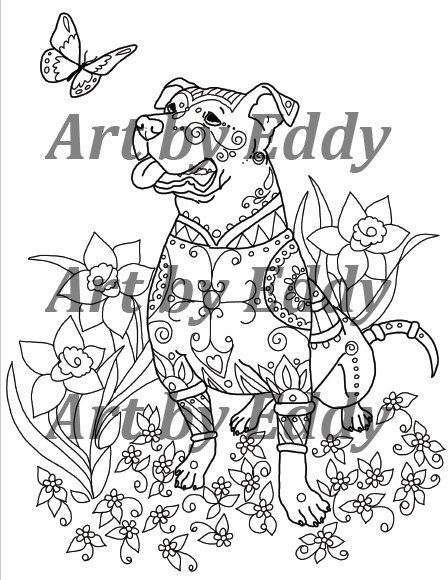 This coloring book consists of 15 hand drawn images of beautiful Pitbulls for you to color. Any watermarks or logos seen on the photos will not appear