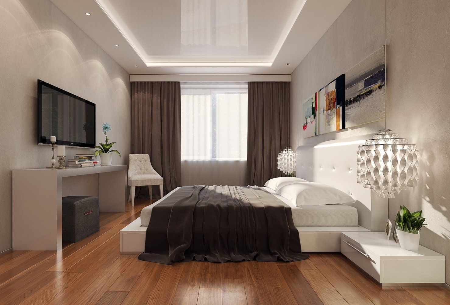 фото спальня потолки