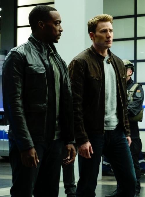 "Sam Wilson and Steve Rogers in ""Captain America: Civil War"""