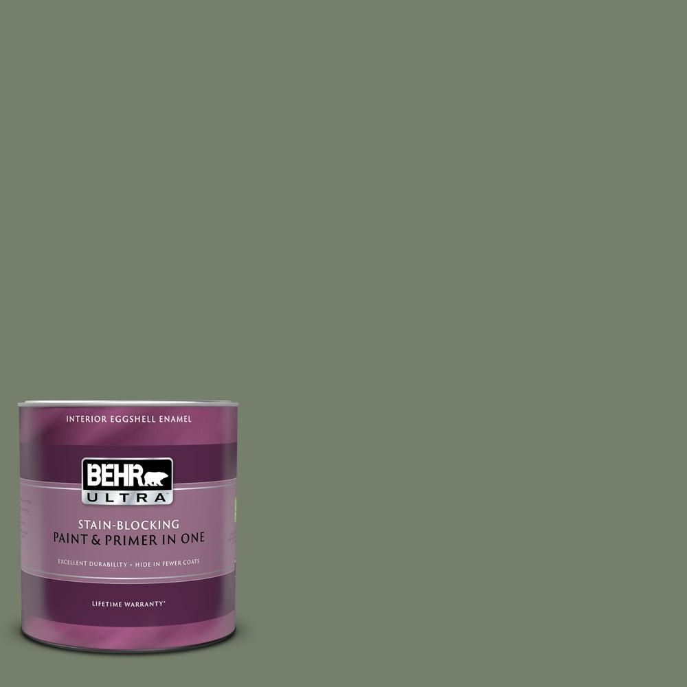 Behr Ultra 1 Qt 430f 5 Bahia Grass Eggshell Enamel Interior Paint And Primer In One Exterior Paint Interior Paint Paint Primer