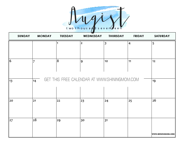 Free Printable August  Calendars  Awesome Designs  Free