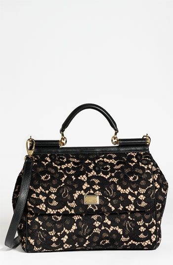 Dolce 'Miss Sicily' Leather & Lace Satchel   #Nordstrom #falltrends #handbags