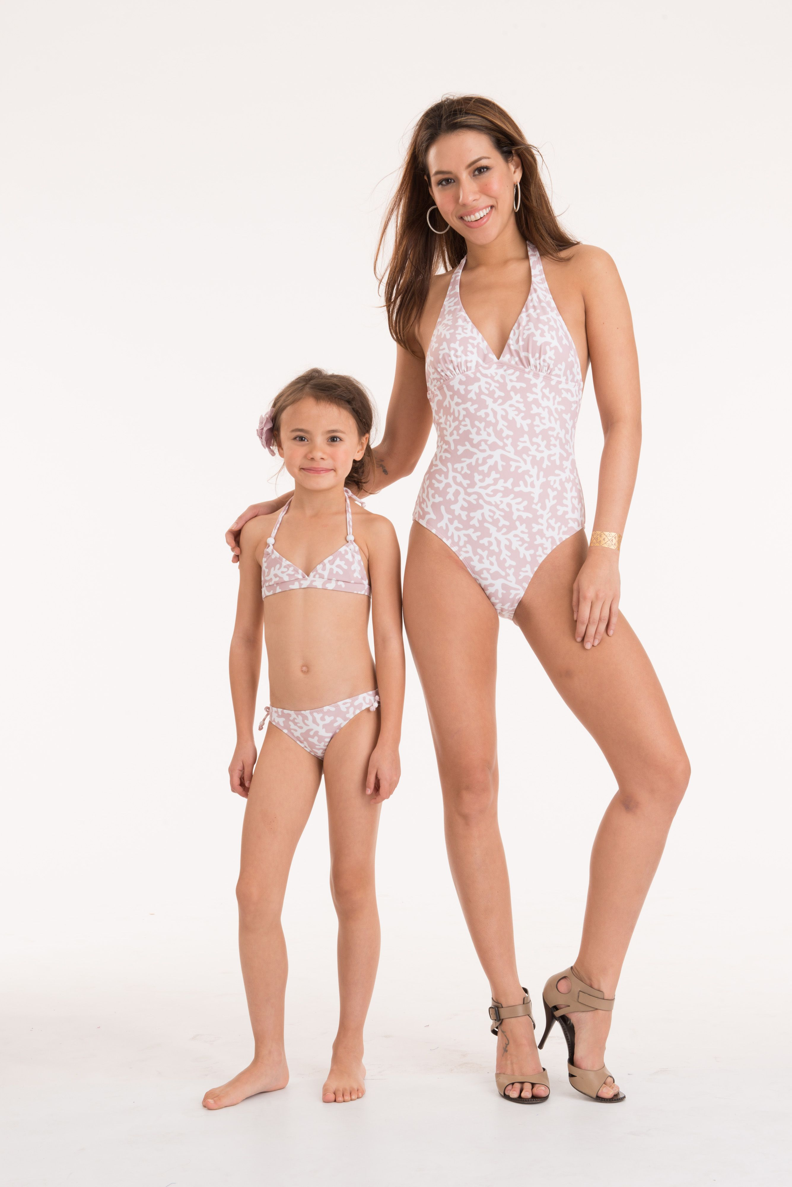 6ffea59e023 Matching swimwear for boys girl and adults! Coral Mauve&White print  from the 2015