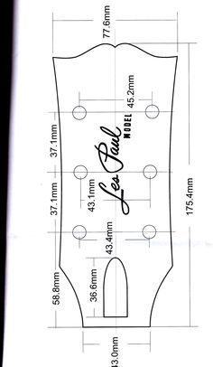 Gibson headstock dimensions images pola pinterest for Gibson les paul headstock template